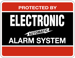 ELECTRONIC ALARM DECAL 4IN X 3IN BLK/RED